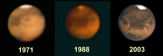 Mars through the telescope at the perihelic oppositions of 1971, 1988 and 2003 (click for full-size image)